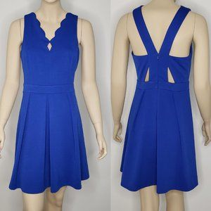 Adelyn Rae Blue Scallop Fit and Flare Cutout Dress